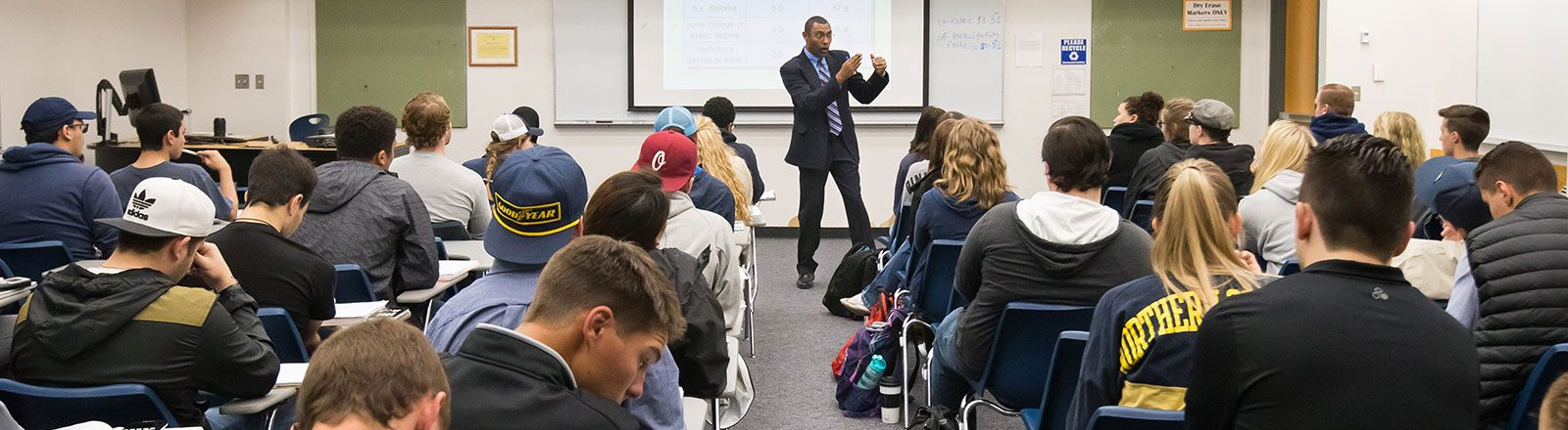 Economics class listening to professor
