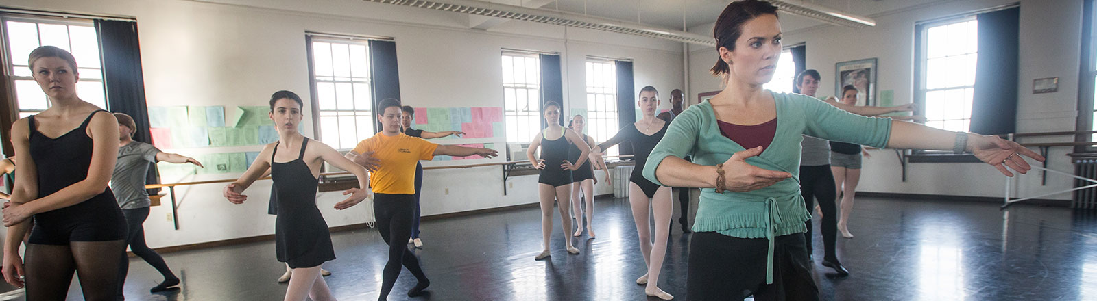 Students in studio dancing