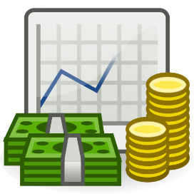 Cartoon image of stacks of bills and coints with a line graph in the background