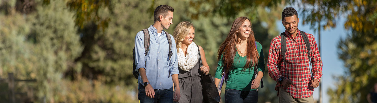 Students walking safetly on campus