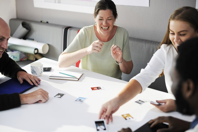 Business people playing a game