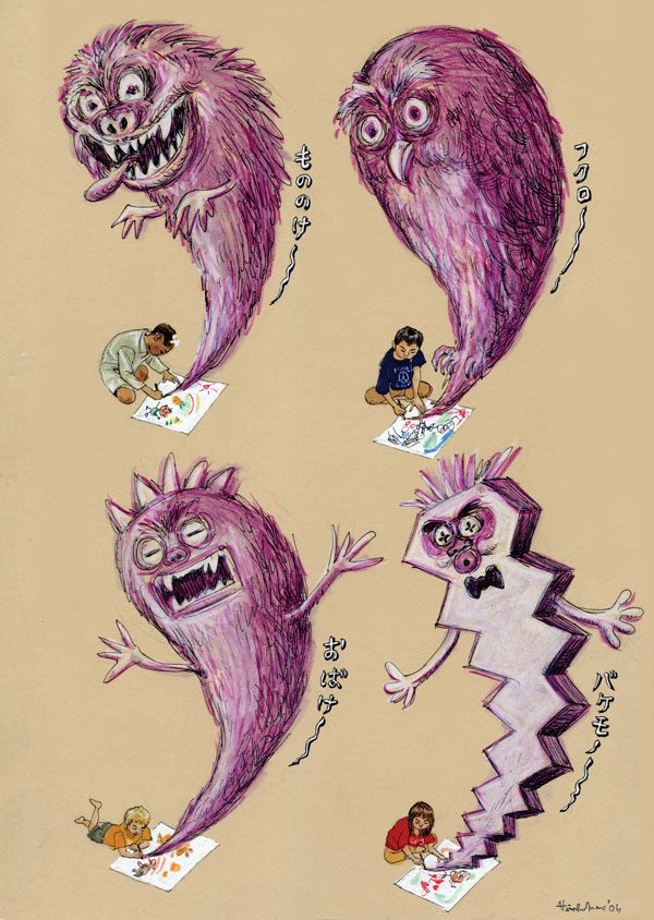 children drawing monsters