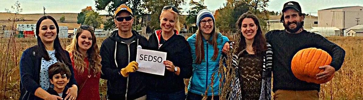 An image of SEDSO members holding pumpkins at the PhD Pumpkin Patch event in Fall of 2016
