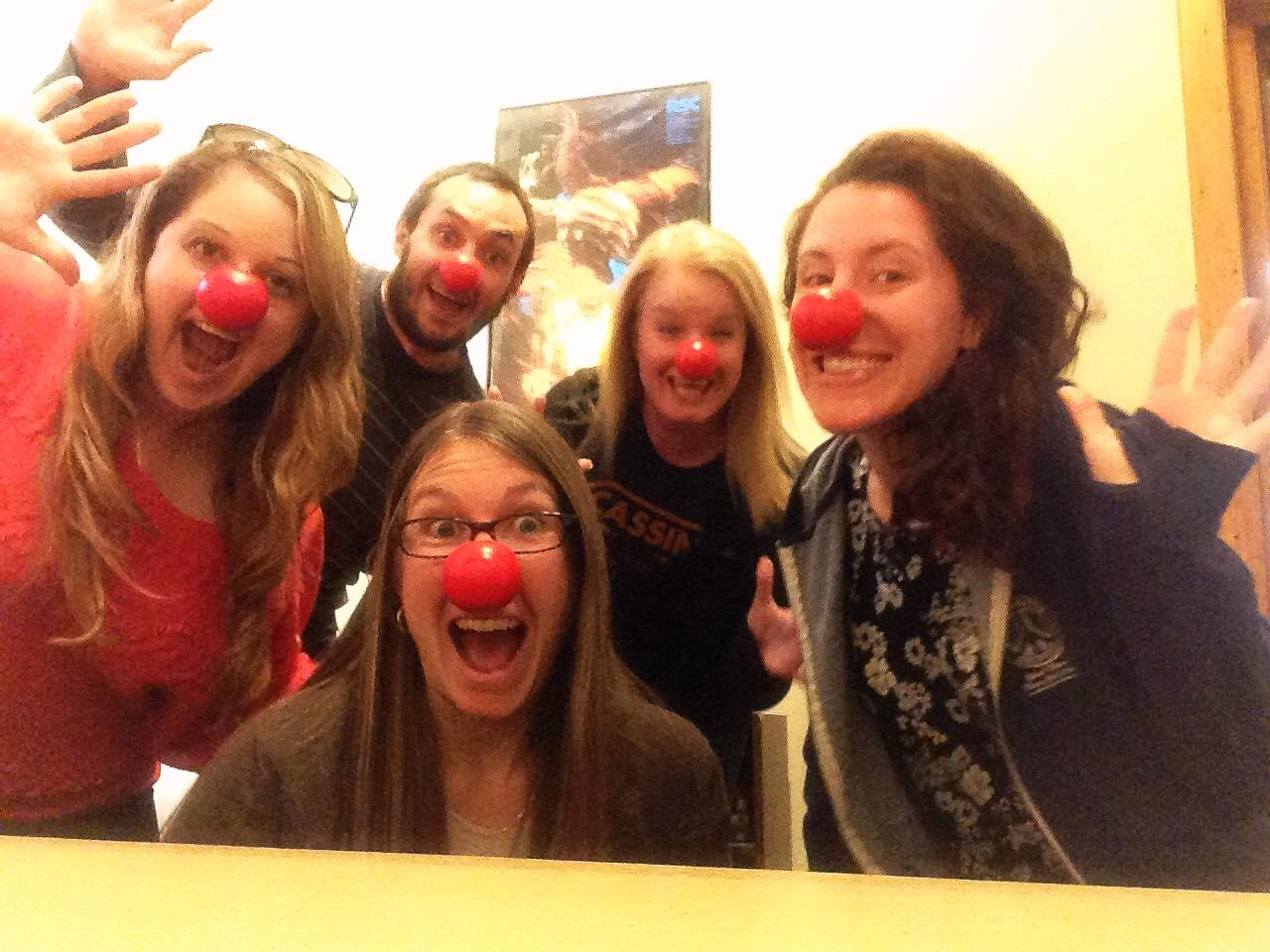 SEDSO officers wearing red clown noses for Red Nose Day Fundrasier 2017
