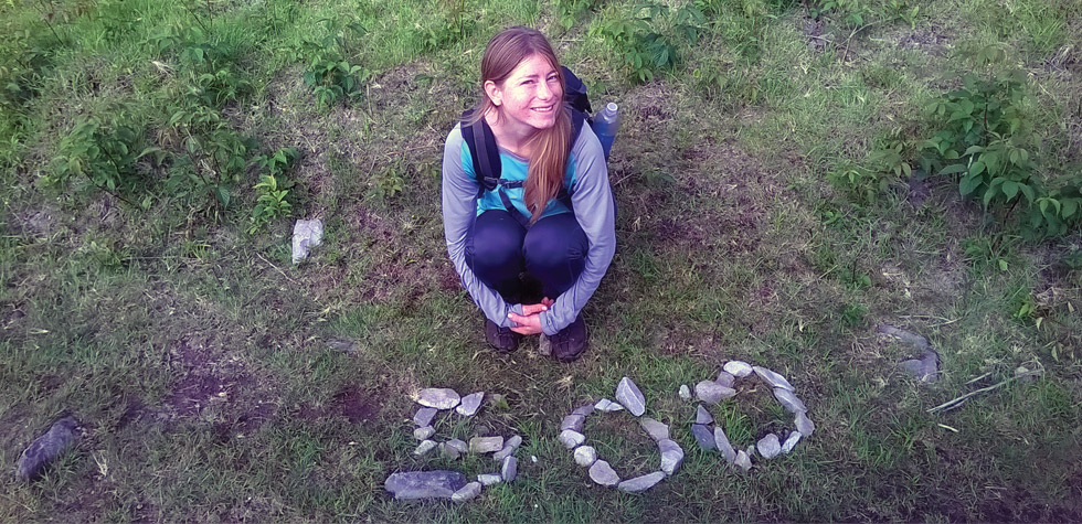 Amanda Cunningham marks her 500th mile on the Appalachian Trail