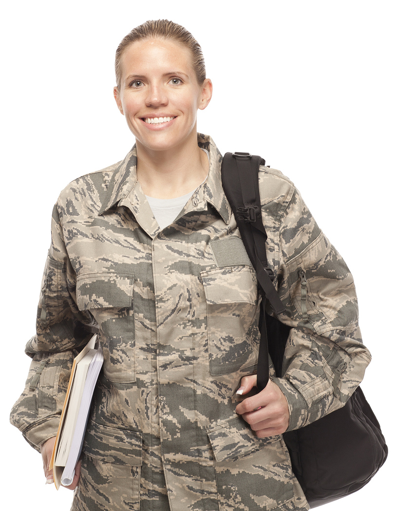 Female Airman in uniform with packpack