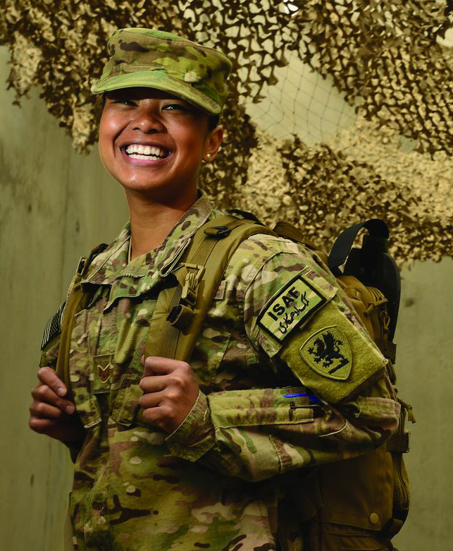 Picture of a female soldier in uniform with backpack